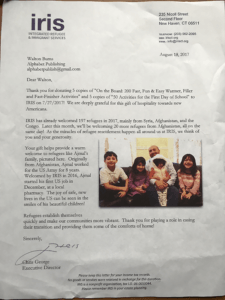 A letter from Chris George thanking Alphabet Publishing for a donation of books