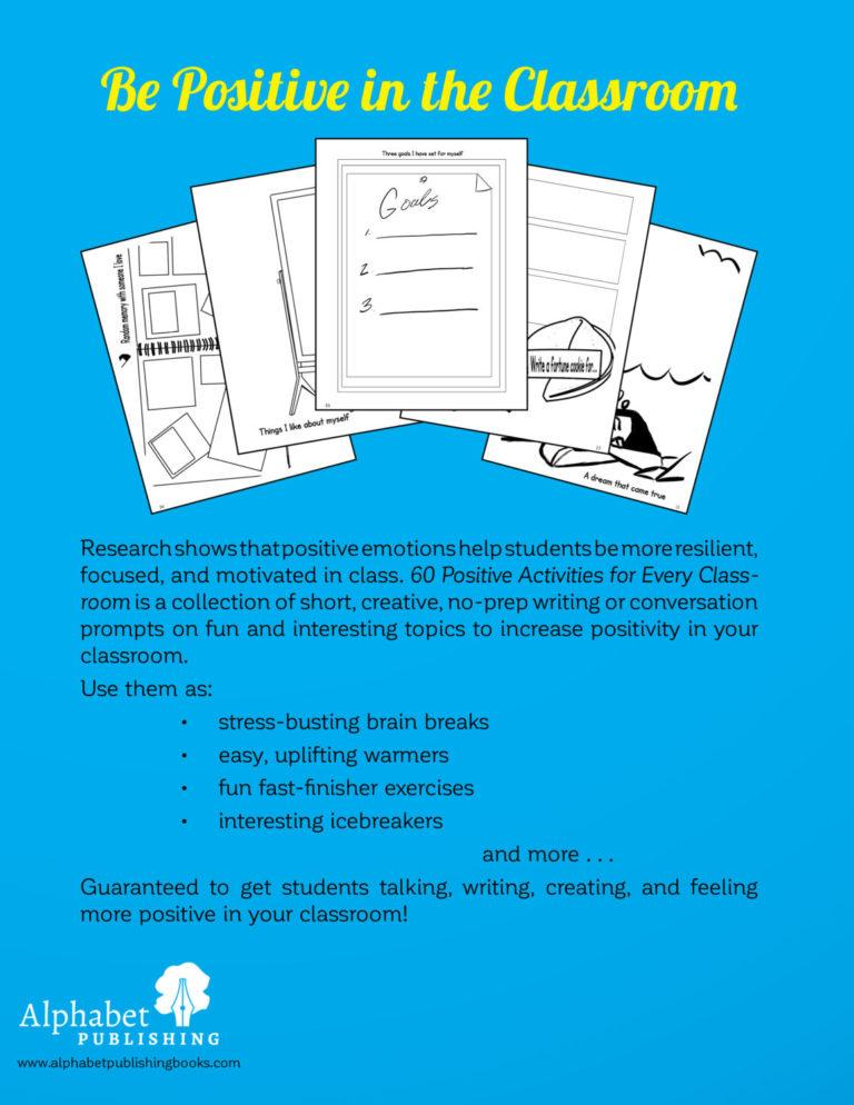 Back Cover of 60 Positive Activities for Every Classroom. Be Positive in the Classroom.