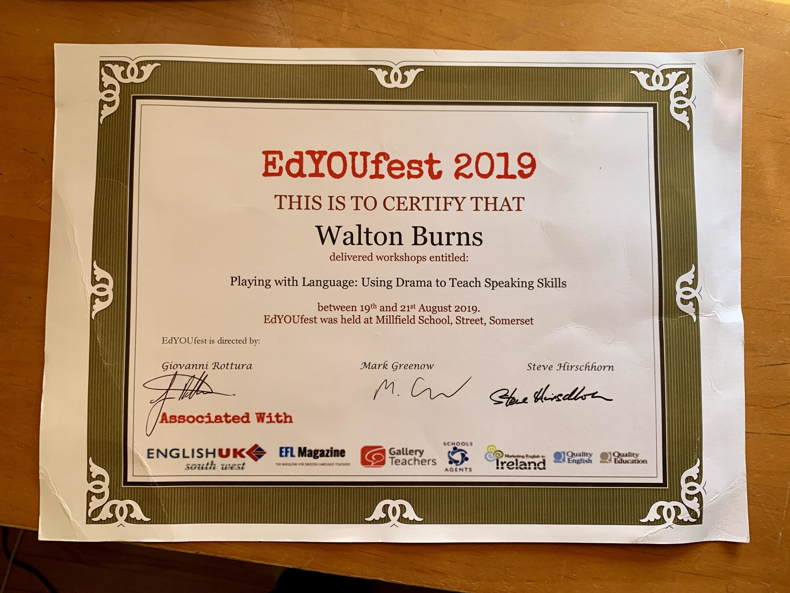Ed You Fest 2019 Certificate issued to Walton Burns for delivering the presentation Playing with Language