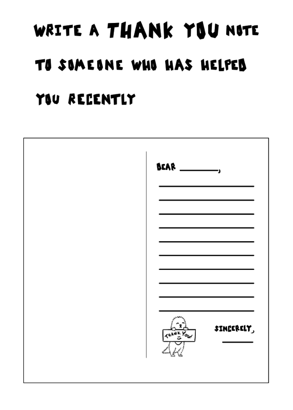 Sample Prompt for Kids: Write a Thank You Note to Someone Who Helped You Recently